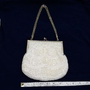 Vintage Ernest White Bead and Pearl Evening Purse